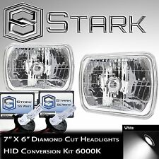7x6 H6054 H6052 H6014 Glass Head Light Housing Diamond w/ HID Conversion Kit (A)