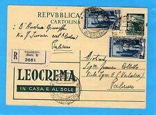 £.15 pubblicità LEOCREMA (R8-2) + LAVORO £.15 x 2 ann.PALERMO, 18.01.51 (700416)