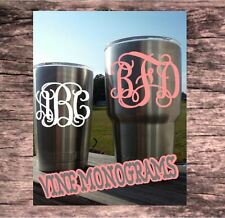 Monogram Decal for your Yeti Rambler,Tumbler,3 initial BUY ONE GET ONE FREE 3.5""