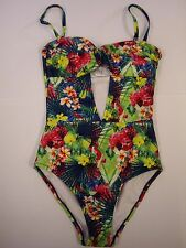 Playful Promises Cut Out Swimsuit In Tropical Print Size 8 BNWOT