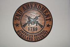 2nd Amendment Homeland Security Walnut Wood Plaque American Made Home Made