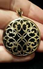 Black Onyx and Diamond-Cut 14K Yellow Gold Round Medallion Pendant, Beautiful!