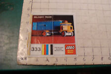 vintage LEGO INSTRUCTIONS: set 333 DELIVERY TRUCK Complete but Torn as shown