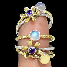 Two Tone - Moonstone & Amethyst 925 Silver Ring s.8.5 SR209173