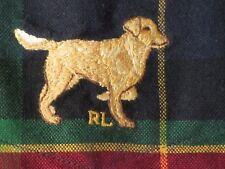 Mens Ralph Lauren BLAKE Red Blue Green Tartan PLAID Shirt Golden Retriever Dog L