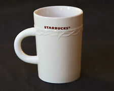 2010 STARBUCKS 10 OUNCE Red Lettering  COFFEE CUP MUG EMBOSSED SWAG SCROLLWORK