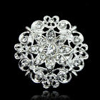 Elegant Silver Flower Brooch Rhinestone Crystal Wedding Broach Pin Bridal Party