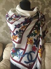 NEW CHANEL AUTHENTIC MULTI-COLOR FLORAL PRINT AMAZING FLOWERS MODAL CASH STOLE