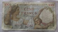 OLD FRENCH 100 CENT FRANCS BANKNOTE 10-12-1940 WWII VINTAGE RARE COLLECTOR