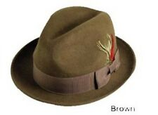 Men 's 100% Wool Fedora Trilby Hat  Black Khaki Brown Gray Navy S M L XL LH1