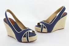 Christian Louboutin - Navy Blue Canvas Slingback Wedge Heel Shoes - Size 37 / 6