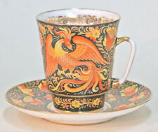 "Collectible bone porcelain cup&saucer author's  art painting ""Folk patterns"""