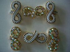 2 Hole Slider Beads Infinity White/AB in Gold Made with Swarovski Elements #6