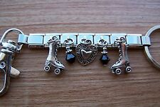 Skate Roller Derby Skates and Heart Charm Key Ring with Swarovski Crystals