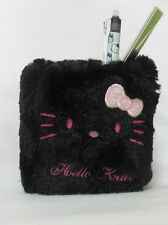Hello Kitty Pen Stand Holder Case Black Pink Dot BNWT