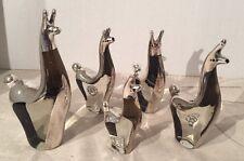 5 Clear Glass Graduating Sizes Llamas Alpacas w/Sterling Silver Peru Figurines