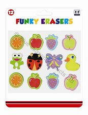 Pack of 12 Funky Erasers Childrens Stationery Arts & Crafts Fun Gift Rubbers