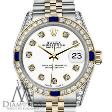 Ladies White Rolex 31mm Datejust 18K-SS 2Tone Sapphire & Diamonds Bezel Jubilee