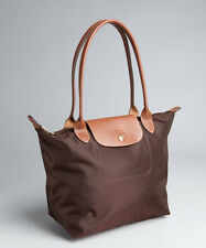 NWT LONGCHAMP LE PLIAGE MEDIUM NYLON LEATHER TOTE BAG CHOCOLATE BROWN $125 AUTH