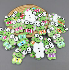 50pcs Frog Buttons Fit Sewing Wooden 2-holes scrapbooking decoration crafts 25mm