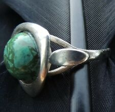 UNIQUE VINTAGE MODERNISTIC ESTATE STERLING SILVER GREEN TURQUOISE RING SIZE 6.75