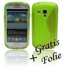 Samsung Galaxy S3 Mini i8190 Zubehör /// Handyhülle + Schutzfolie in Neon Grün