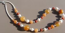 Yellow Agate, Stone, and Freshwater Pearl Handmade Short Beaded Necklace