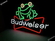 New Budweiser Frog ClipReal Glass Neon Sign  Beer Bar Light FAST SHIPPING