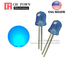 50pcs 8mm Blue Color Blue Light Diffused Round Top DIP LED Diodes USA