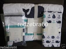 Pottery Barn Kids Navy/Aqua Hamptons Whale Crib/Toddler Quilt Sheet Sham Set 3pc