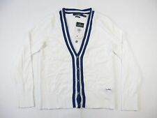 RALPH LAUREN ACTIVE WHITE BLUE MEDIUM CARDIGAN SWEATER WOMENS DEFECT