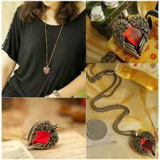 New Vintage Angel Heart Wing Pendant Necklace Red Rhinestone Women Sweater Chain