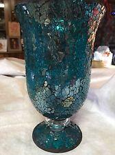Aquamarine Mosaic Glass Vase Flower Arrangement Centerpiece