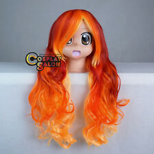 Halloween Party Red Mixed Orange Yellow Curly 75cm Women Girls Long Cosplay Wig