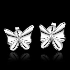 Modern Women 925 Sterling Silver Plated Fashion Butterfly Stud Dangle Earrings