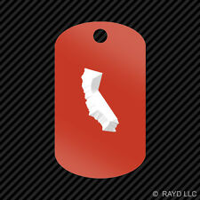 California Shaped Keychain GI dog tag engraved many colors  CA