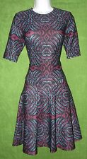 Gabby Skye Black Purple Teal Abstract Stretch Knit Work Social Dress 14 $119