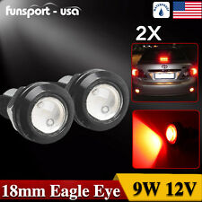 2x 18mm 9W Red COB LED Eagle Eye Day Running Light Turn Signal Corner Lamp Bulbs