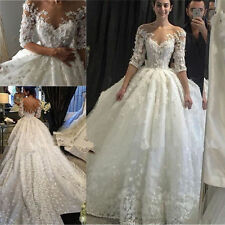 2017 Lace A-Line White/Ivory Wedding Dress Applique Bridal Gown Custom Size 6-28