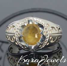 Silver Ring Sapphire Men Sterling 925 yellow natural stone Mens Jewelry Saphir