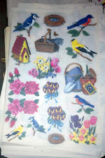 Birds & Flowers Rub-On Transfers Decals 5 Sheets