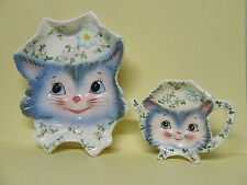 Vintage Lefton Miss Priss Kitty Cat Spoon Rest & Tea Bag Holder (Japan)