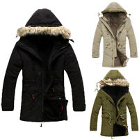 UK Winter Warm Mens Fashion Thicken Hooded Coat Long Jackets Outwear Padded Tops