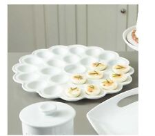 White Deviled Egg Platter Vintage Serving Plate Eggs Tray Clear Porcelain Dish