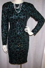 VTG 60'S NITE LINE SZ 4 34 BUST AQUA & BACK COMPLETELY COVERED SEQUIN DRESS