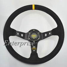 "350mm /13.8"" Deep Dished Sport Racing Suede Alloy Black Steering Wheel New"