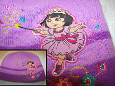 dora the explorer knitted cap purple and  lilac embroided pic cute childs