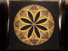 Tableau fils tendus string art rosace orange/jaune 70's 1970 vintage