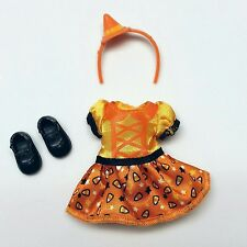Barbie Chelsea Doll Clothes Halloween Candy Corn Print Dress headband Shoes New