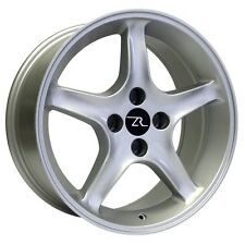 "17"" Silver Ford Mustang Cobra R ® Wheels Staggered 17x8 17x10 4x108 Rims 87-93"